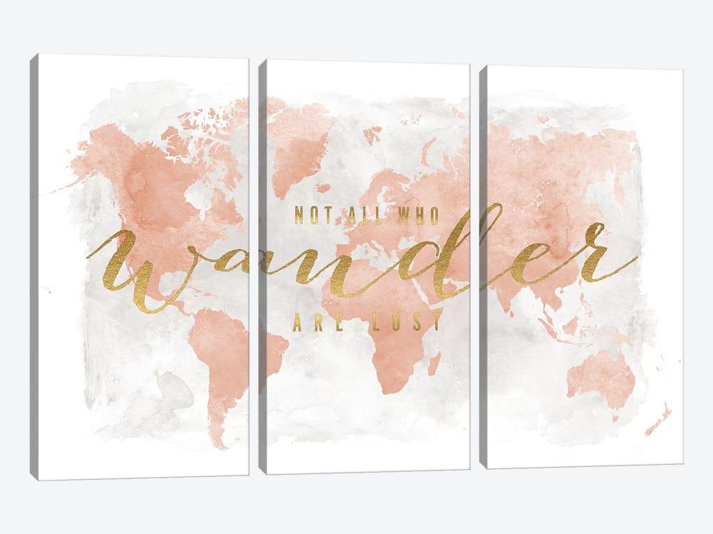 World Map Not All Who Wander II by ArtPrintsVicky 3-piece Canvas Artwork