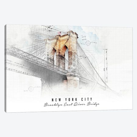 Brooklyn Bridge Canvas Print #APV14} by ArtPrintsVicky Canvas Wall Art