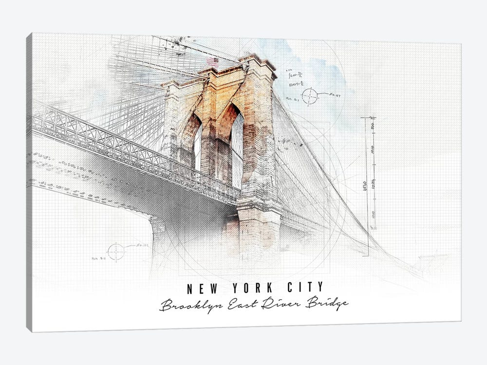 Brooklyn Bridge by ArtPrintsVicky 1-piece Canvas Artwork
