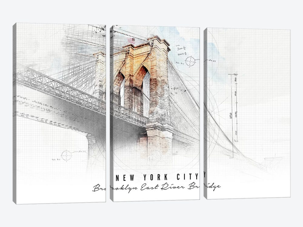Brooklyn Bridge by ArtPrintsVicky 3-piece Canvas Artwork