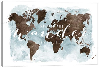 World Map Not All Who Wander III Canvas Art Print