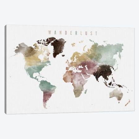 World Map Wanderlust XI Canvas Print #APV151} by ArtPrintsVicky Canvas Art Print