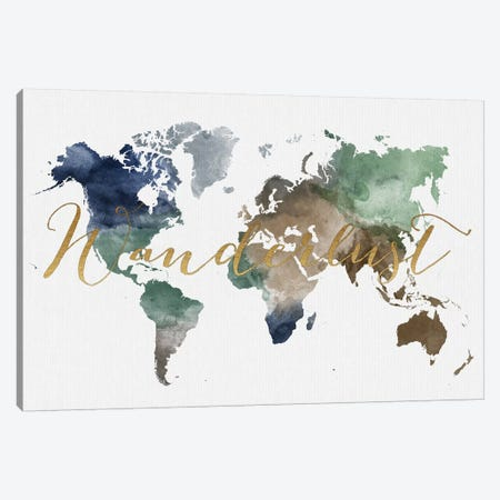 World Map Wanderlust XII Canvas Print #APV152} by ArtPrintsVicky Art Print
