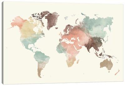 World Map Pastel Cream Canvas Art Print