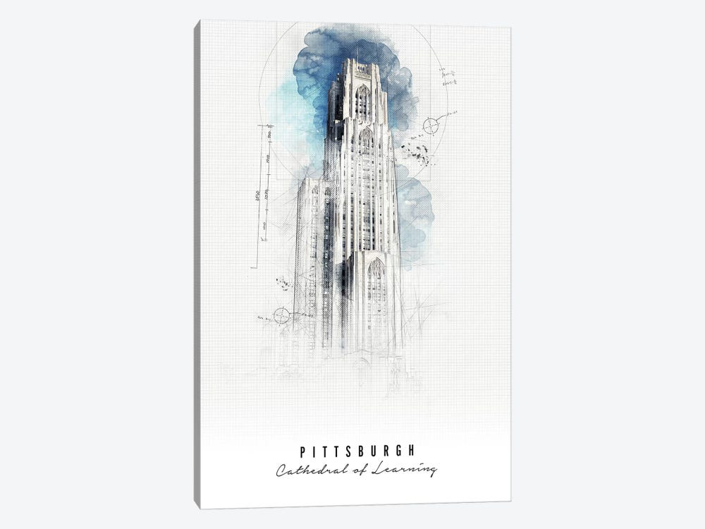 Cathedral Of Learning by ArtPrintsVicky 1-piece Canvas Art Print