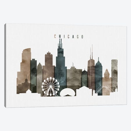 Chicago Watercolor II Canvas Print #APV17} by ArtPrintsVicky Canvas Art