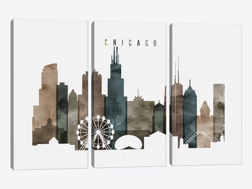 Chicago Watercolor II by ArtPrintsVicky 3-piece Canvas Print