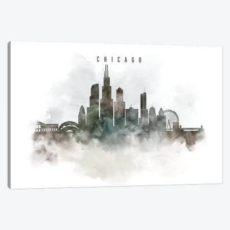 Chicago Watercolor Cityscape I Canvas Print #APV18} by ArtPrintsVicky Art Print