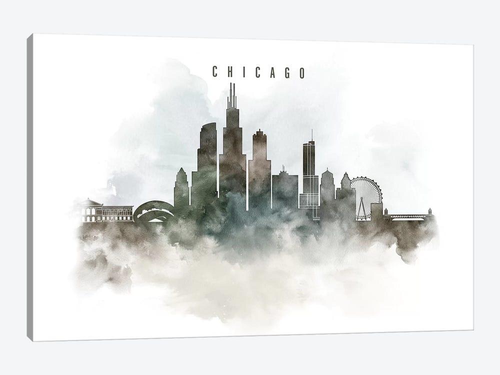 Chicago Watercolor Cityscape I by ArtPrintsVicky 1-piece Canvas Art