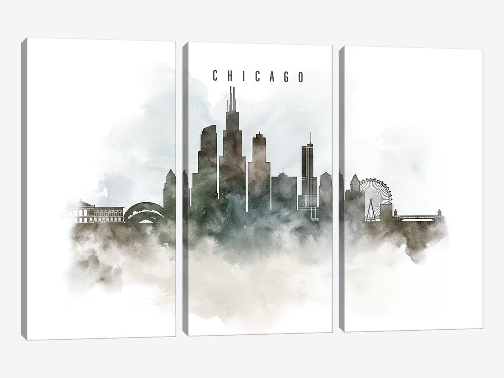Chicago Watercolor Cityscape I by ArtPrintsVicky 3-piece Canvas Art