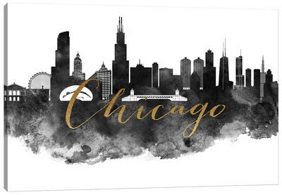 Chicago in Black & White Canvas Art Print