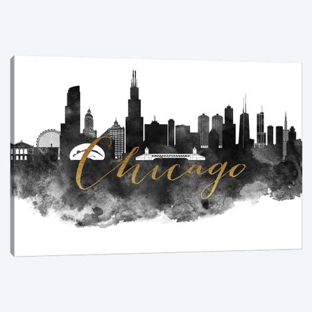 Chicago in Black & White Canvas Print #APV19} by ArtPrintsVicky Canvas Art Print