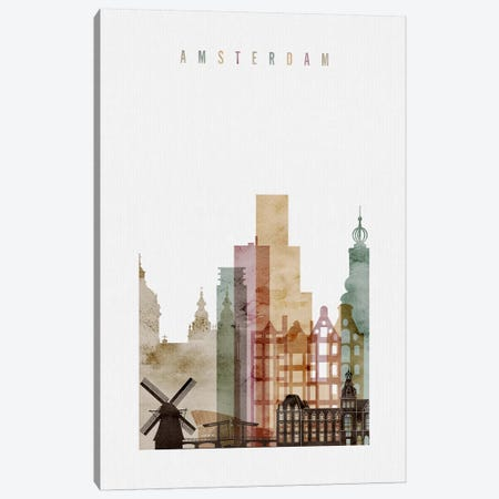 Amsterdam Watercolor Canvas Print #APV1} by ArtPrintsVicky Canvas Print