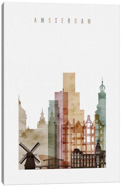 Amsterdam Watercolor Canvas Art Print