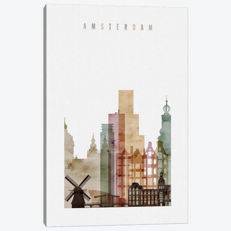 Amsterdam Watercolor Canvas Print #APV1} by ArtPrintsVicky Canvas Print