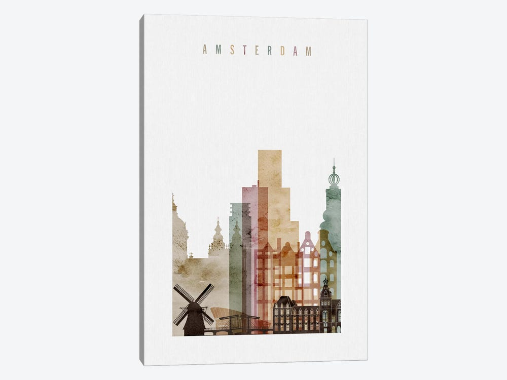 Amsterdam Watercolor by ArtPrintsVicky 1-piece Art Print