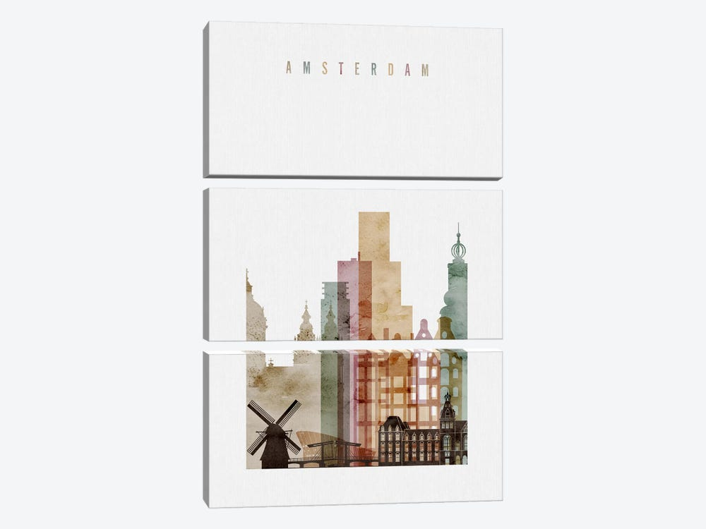 Amsterdam Watercolor by ArtPrintsVicky 3-piece Canvas Print