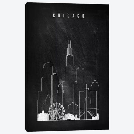 Chicago Chalkboard Canvas Print #APV20} by ArtPrintsVicky Canvas Artwork