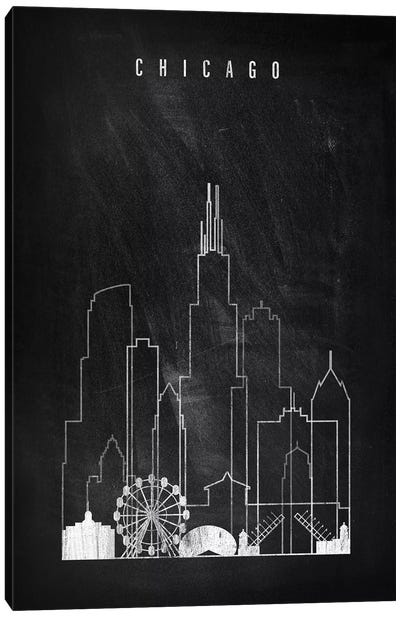 Chicago Chalkboard Canvas Art Print