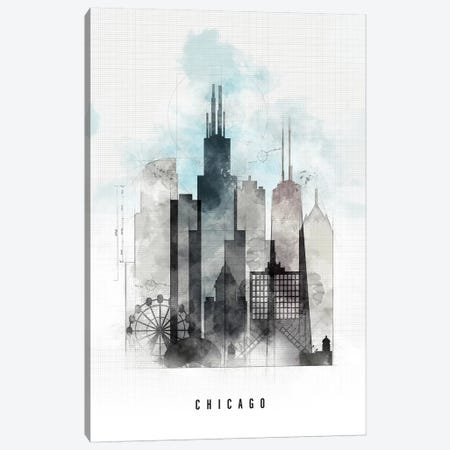 Chicago Urban Canvas Print #APV21} by ArtPrintsVicky Canvas Wall Art
