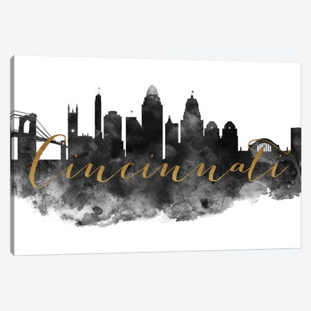 Cincinnati in Black & White Canvas Print #APV23} by ArtPrintsVicky Canvas Artwork