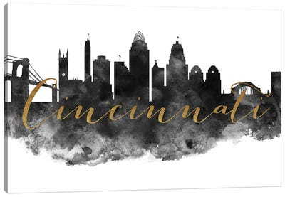 Cincinnati in Black & White Canvas Art Print