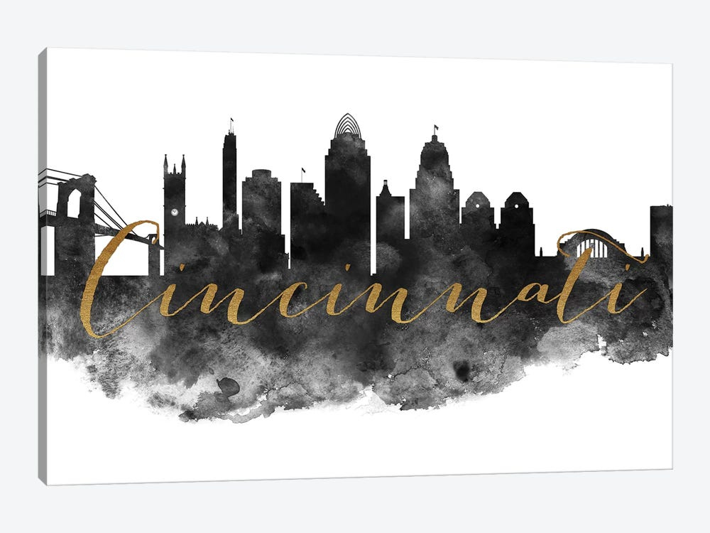 Cincinnati in Black & White by ArtPrintsVicky 1-piece Canvas Art