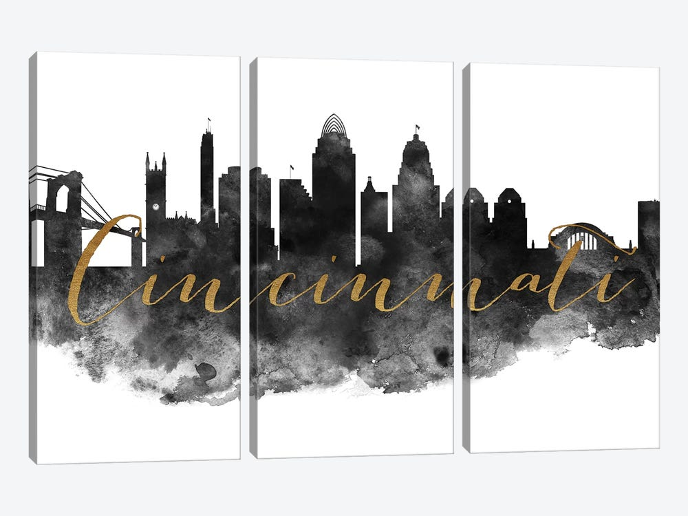 Cincinnati in Black & White by ArtPrintsVicky 3-piece Canvas Artwork