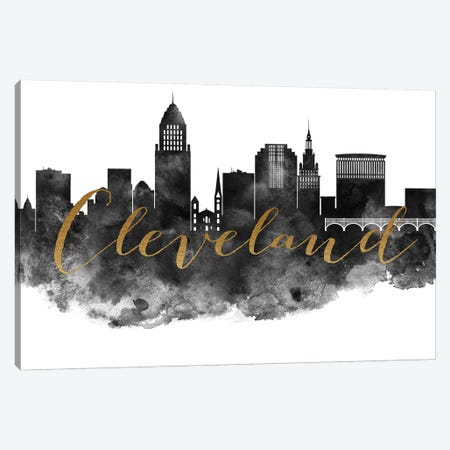 Cleveland in Black & White Canvas Print #APV24} by ArtPrintsVicky Canvas Print
