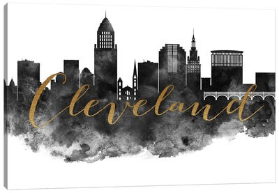 Cleveland in Black & White Canvas Art Print