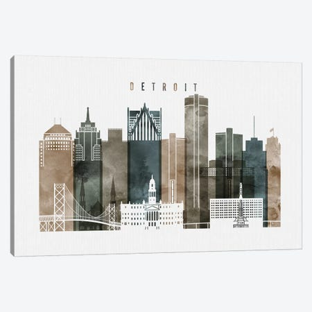 Detroit Watercolor Canvas Print #APV27} by ArtPrintsVicky Canvas Print