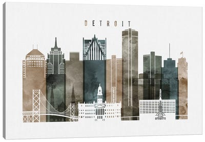 Detroit Watercolor Canvas Art Print