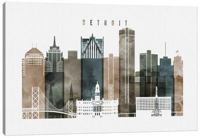 Detroit Watercolor Canvas Art Print