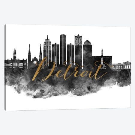 Detroit in Black & White Canvas Print #APV28} by ArtPrintsVicky Canvas Wall Art