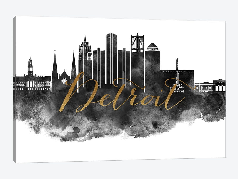 Detroit in Black & White by ArtPrintsVicky 1-piece Art Print