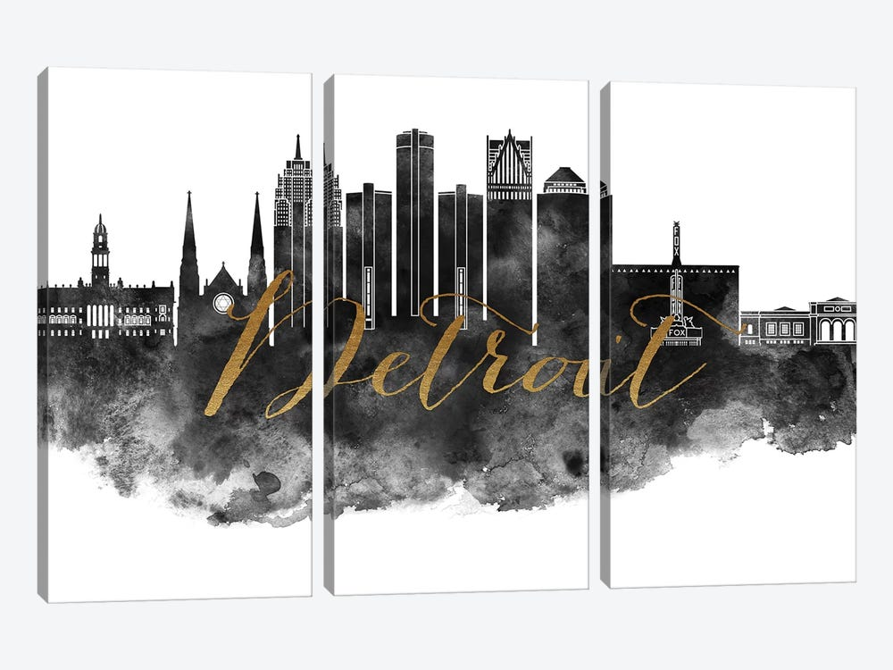 Detroit in Black & White by ArtPrintsVicky 3-piece Canvas Art Print