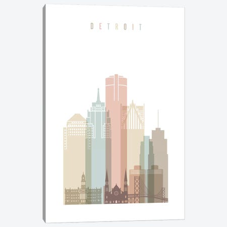 Detroit Pastels in White Canvas Print #APV29} by ArtPrintsVicky Canvas Art