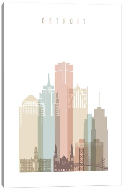 Detroit Pastels in White Canvas Art Print