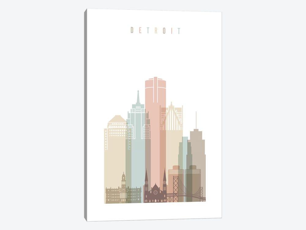 Detroit Pastels in White by ArtPrintsVicky 1-piece Canvas Wall Art