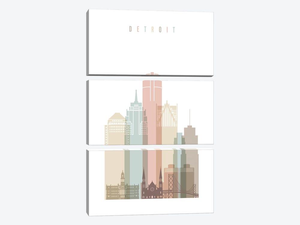 Detroit Pastels in White by ArtPrintsVicky 3-piece Canvas Art
