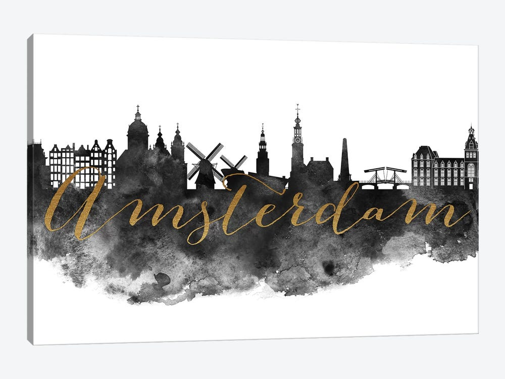 Amsterdam in Black & White by ArtPrintsVicky 1-piece Canvas Wall Art