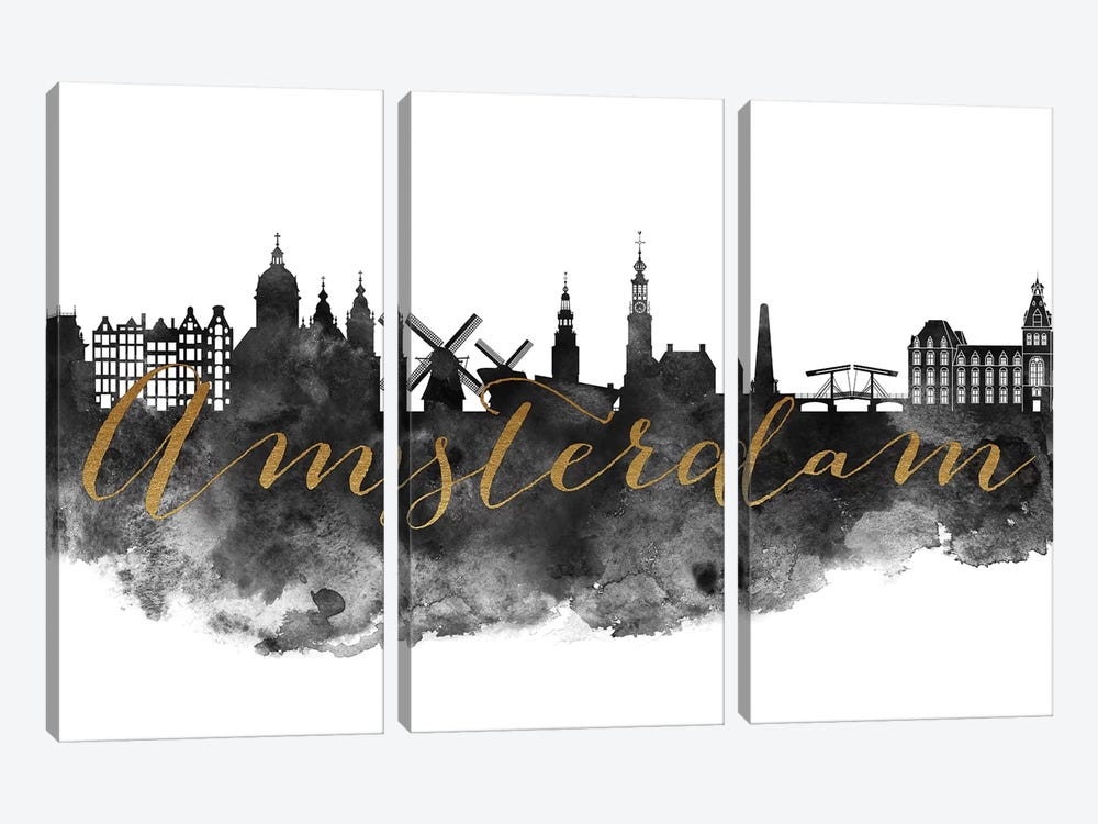 Amsterdam in Black & White by ArtPrintsVicky 3-piece Canvas Artwork