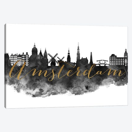 Amsterdam in Black & White 3-Piece Canvas #APV2} by ArtPrintsVicky Canvas Art Print