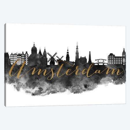 Amsterdam in Black & White Canvas Print #APV2} by ArtPrintsVicky Canvas Art Print