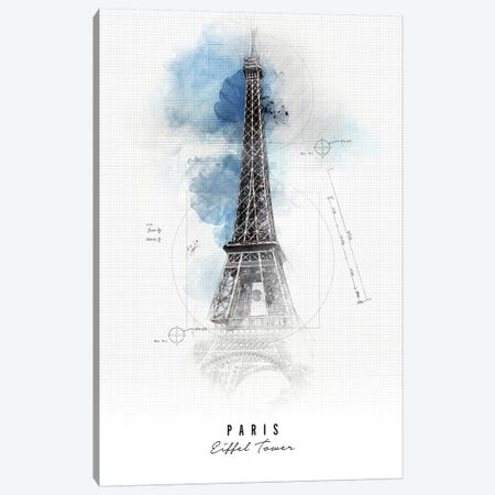 Eiffel Tower - Paris Canvas Print #APV30} by ArtPrintsVicky Art Print