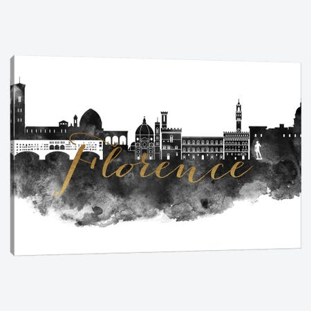 Florence in Black & White 3-Piece Canvas #APV34} by ArtPrintsVicky Canvas Artwork