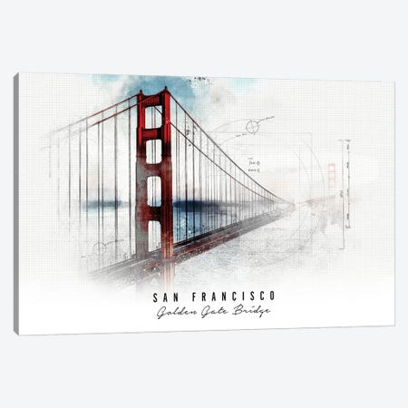 Golden Gate Bridge - San Francisco Canvas Print #APV37} by ArtPrintsVicky Canvas Art