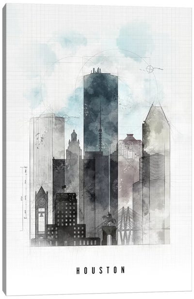 Houston Urban Canvas Art Print