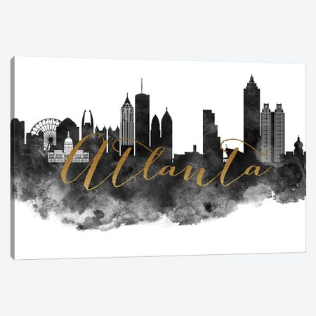 Atlanta in Black & White Canvas Print #APV3} by ArtPrintsVicky Canvas Print