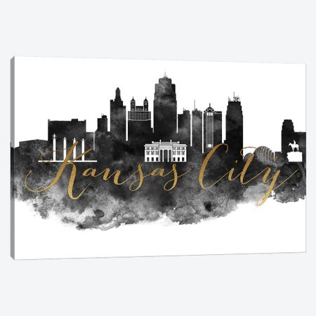 Kansas City in Black & White Canvas Print #APV40} by ArtPrintsVicky Canvas Art